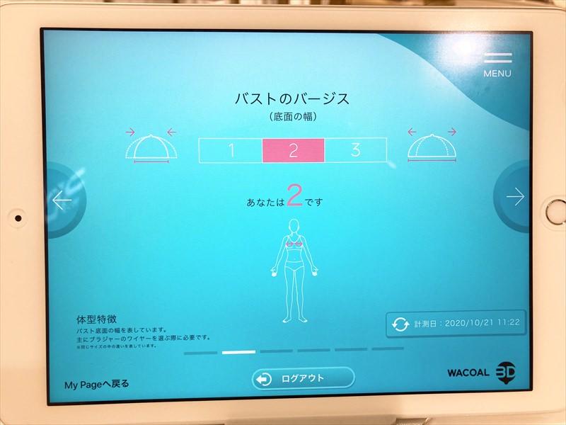 ワコール3Dスマート&トライのバストのバージスデータ