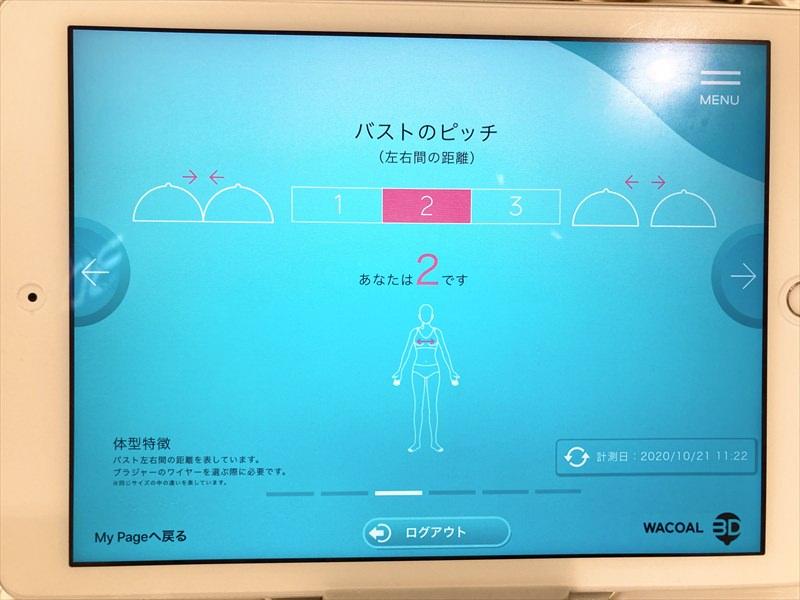 ワコール3Dスマート&トライのバストのピッチデータ