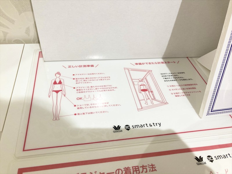 ワコール3Dスマート&トライの着替えスペース、説明
